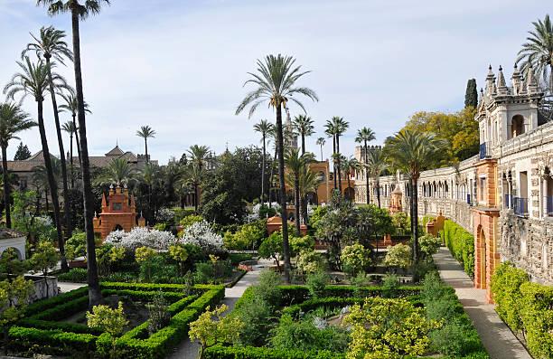 Royal Alcazar gardens Ornamental Royal Alcazar gardens,an oasis in the city of Seville,Spain. seville stock pictures, royalty-free photos & images