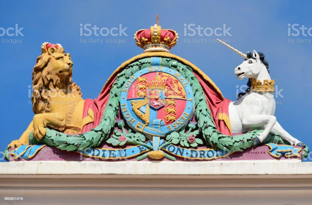 Royal Arms - British Coat of Arms - Gibraltar stock photo