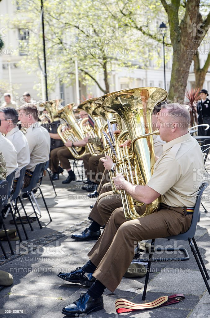 Royal Army Orchestra playing outside stock photo