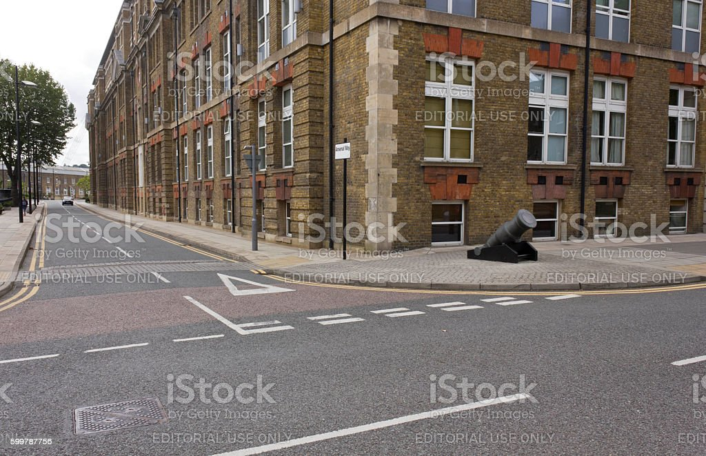 Royal Arsenal Street in Woolwich quartier of London stock photo