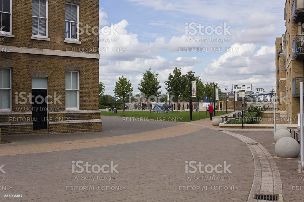 Royal Arsenal Street in Woolwich quartier stock photo