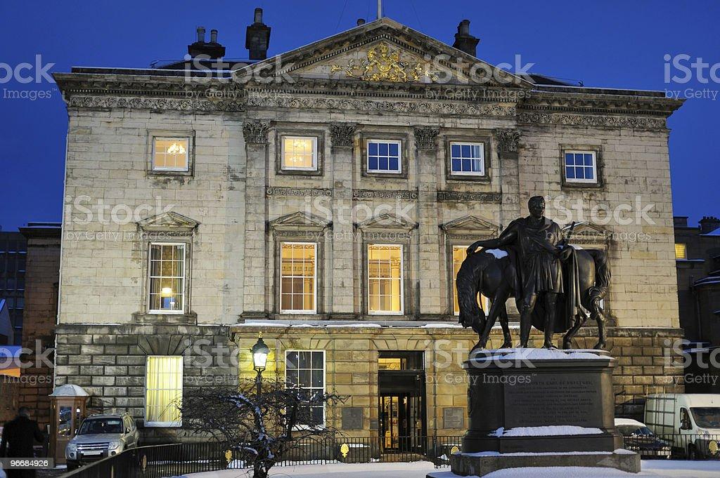 Royal Bank of Scotland headquarters, Edinburgh, at dusk stock photo