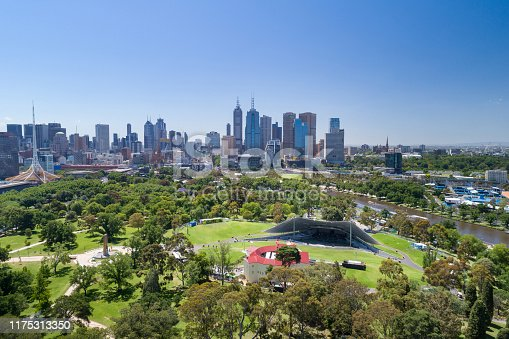 Aerial of the Royal Botanic Gardens, Melbourne Skyline, Australia. Converted from RAW.