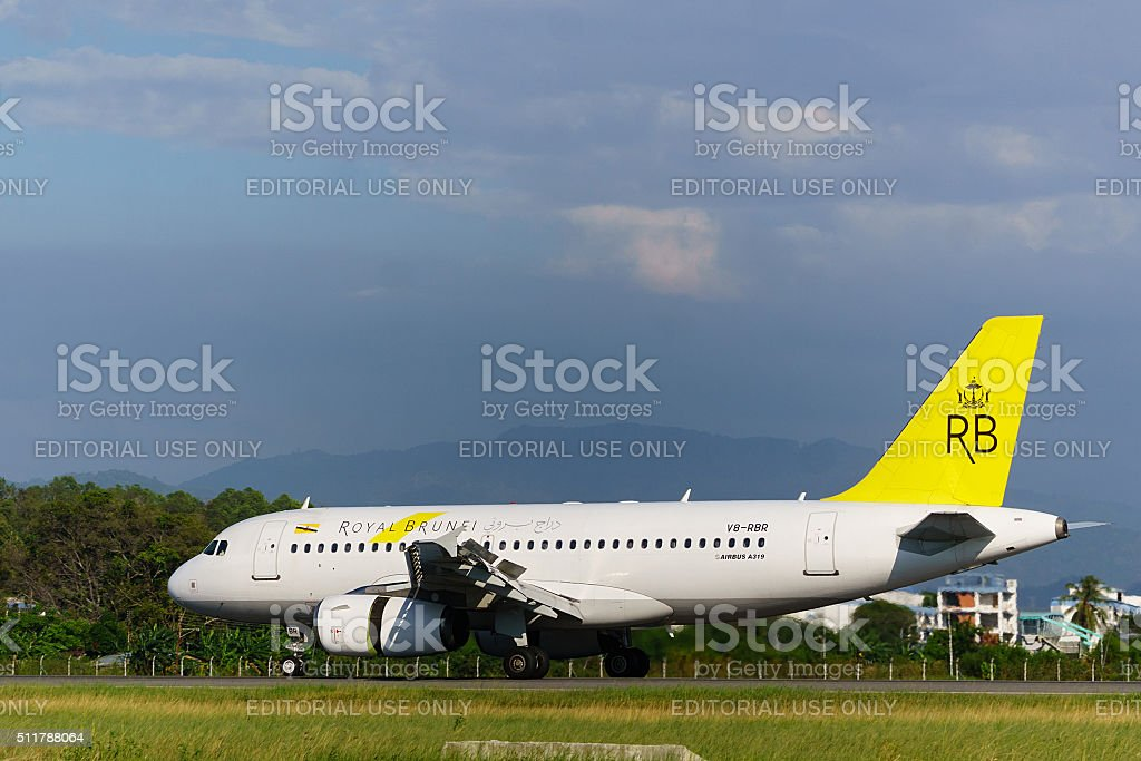 Royal Brunei aircraft Airbus A319 stock photo