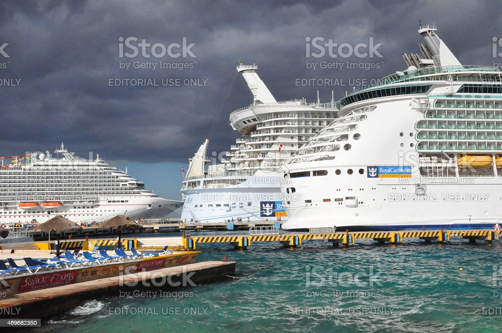 Royal Caribbean Allure of the Seas and Mariner of Seas stock photo