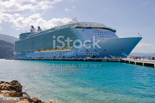Labadee, Haiti – December 22, 2014: People Boarding Royal Caribbean's, Oasis of the Seas Cruise Ship after a Long Day of Sightseeing and Shopping.