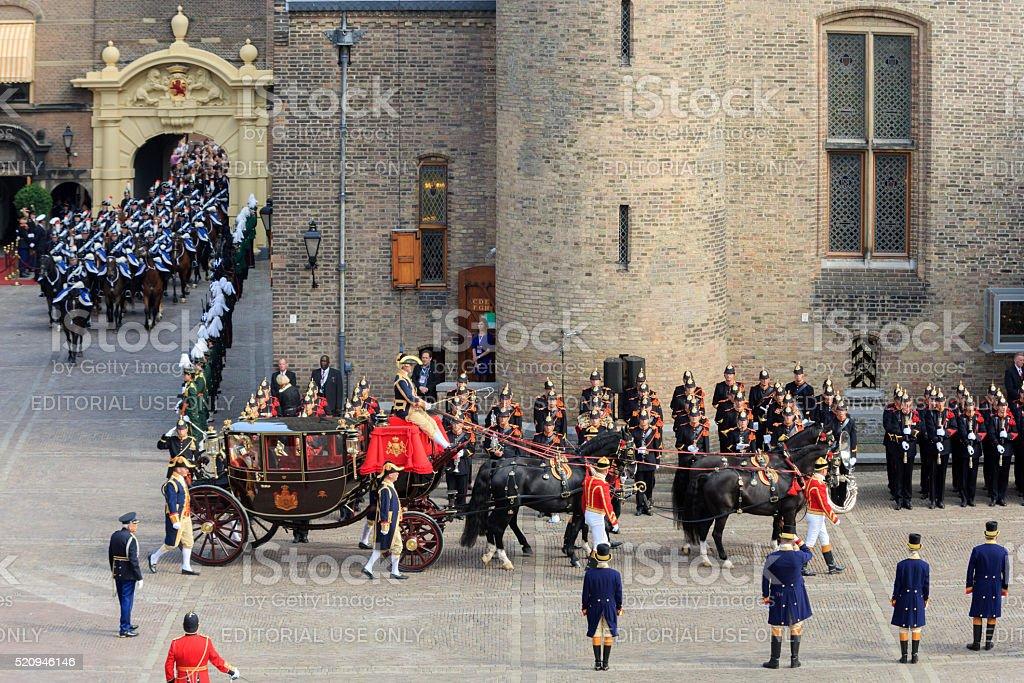 royal carriage arriving on Binnenhof during Prinsjesdag stock photo
