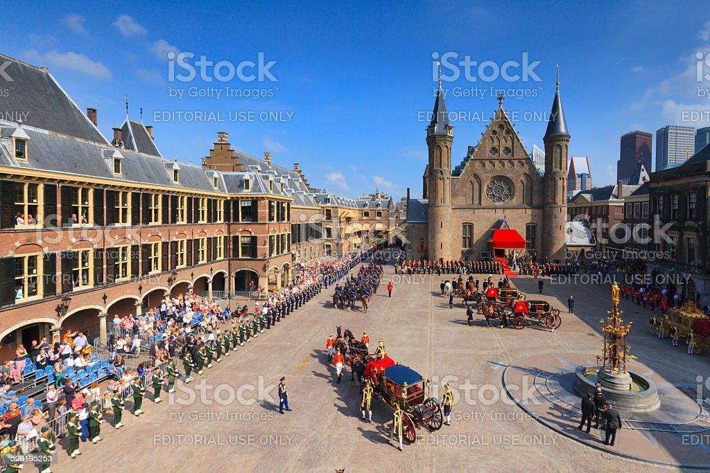 royal carriages arriving on Binnenhof during Prinsjesdag in The Hague stock photo