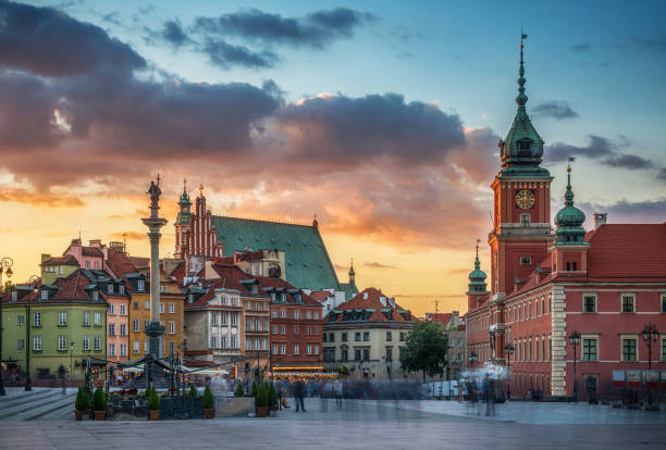 Royal Castle, ancient townhouses and Sigismund's Column in Old town in Warsaw, Poland. stock photo