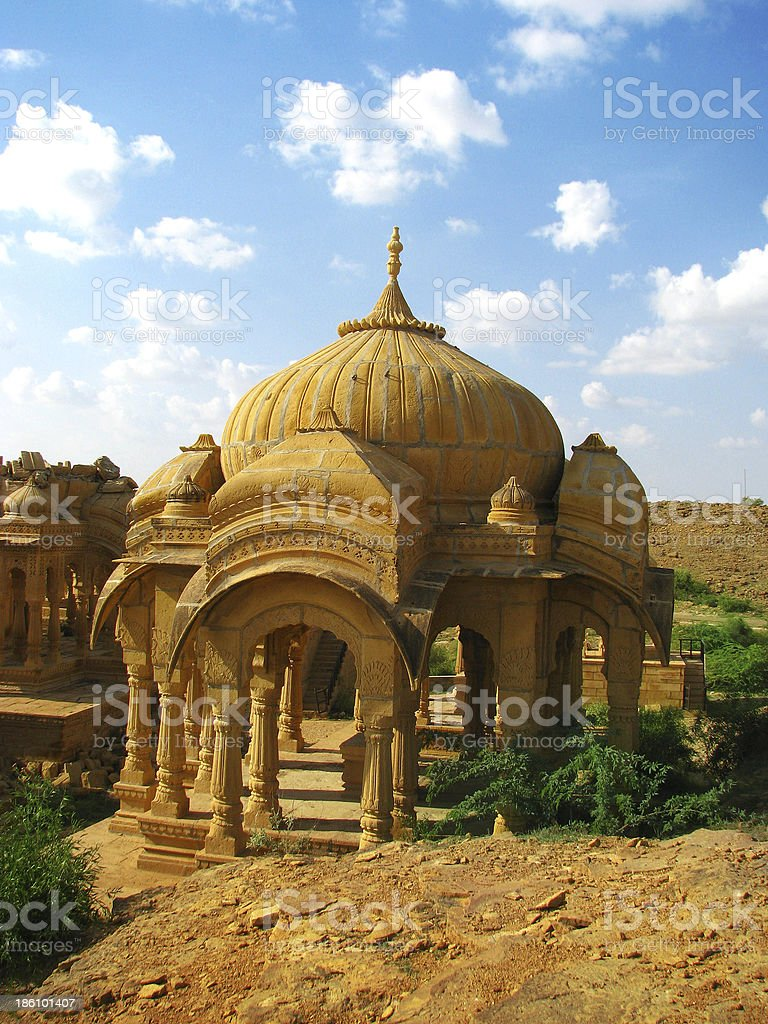 Royal cenotaphs of Bada Bagh in Jaisalmer, magnificent 'Golden City' royalty-free stock photo