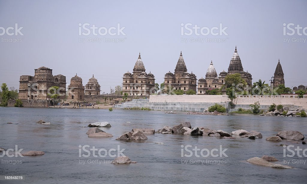 Royal Chhattris along the Betwa river in Orchha stock photo