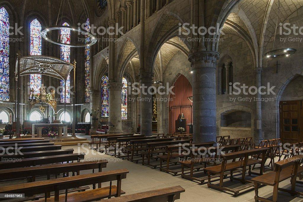 Royal Collegiate of Santa Maria Church, Roncesvalles. Spain. stock photo