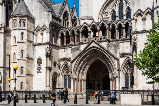 Royal Courts of Justice building in London stock photo