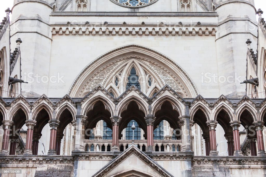 Royal Courts of Justice, gothic style building, facade, London, United Kingdom. royalty-free stock photo