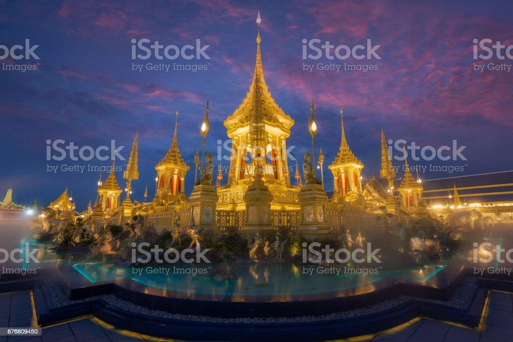 Royal Cremation Exhibition,Sanam Luang,Bangkok,Thailand on November19,2017: Royal Crematorium for the Royal Cremation of His Majesty King Bhumibol Adulyadej stock photo
