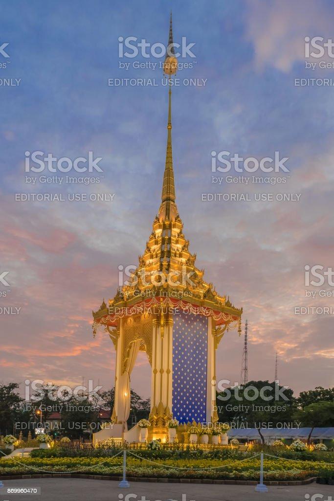 Royal Crematorium Replica in The King of Thailand ceremmony, stock photo