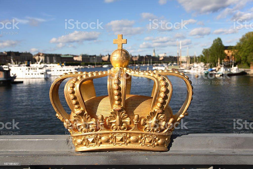Royal crown on a Skeppsholmen bridge in Stockholm. royalty-free stock photo