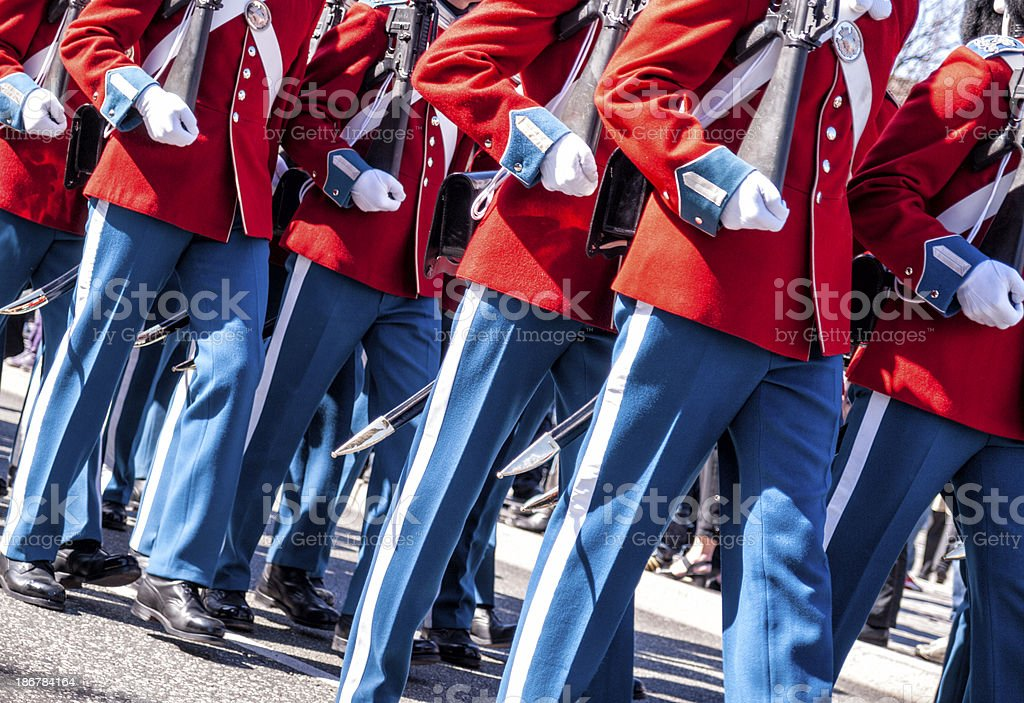 Royal Danish life guards marching in gala uniforms royalty-free stock photo
