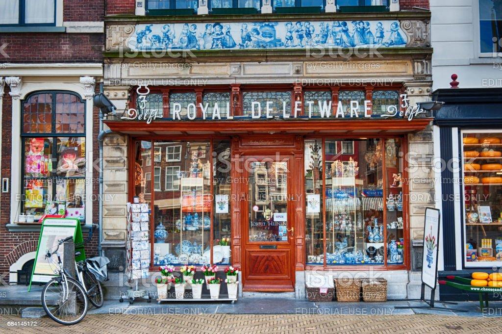 Royal Delftware shop in Delft, The Netherlands zbiór zdjęć royalty-free