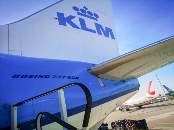 KLM - Royal Dutch Airways Vienna, Austria: December 04, 2019: KLM - Royal Dutch Airlines flight out of Vienna International Airport. KLM is the flag carrier airline of the Netherlands and is headquartered in Amstelveen, with its hub at nearby Amsterdam Airport Schiphol. k logo stock pictures, royalty-free photos & images