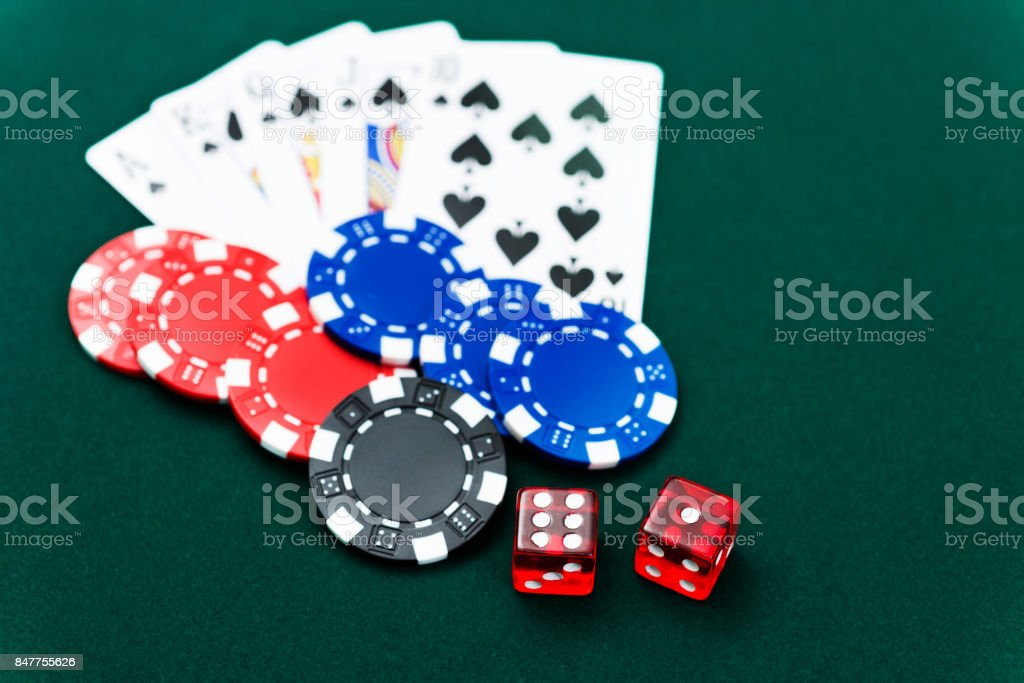 Royal flush and poker chips stock photo