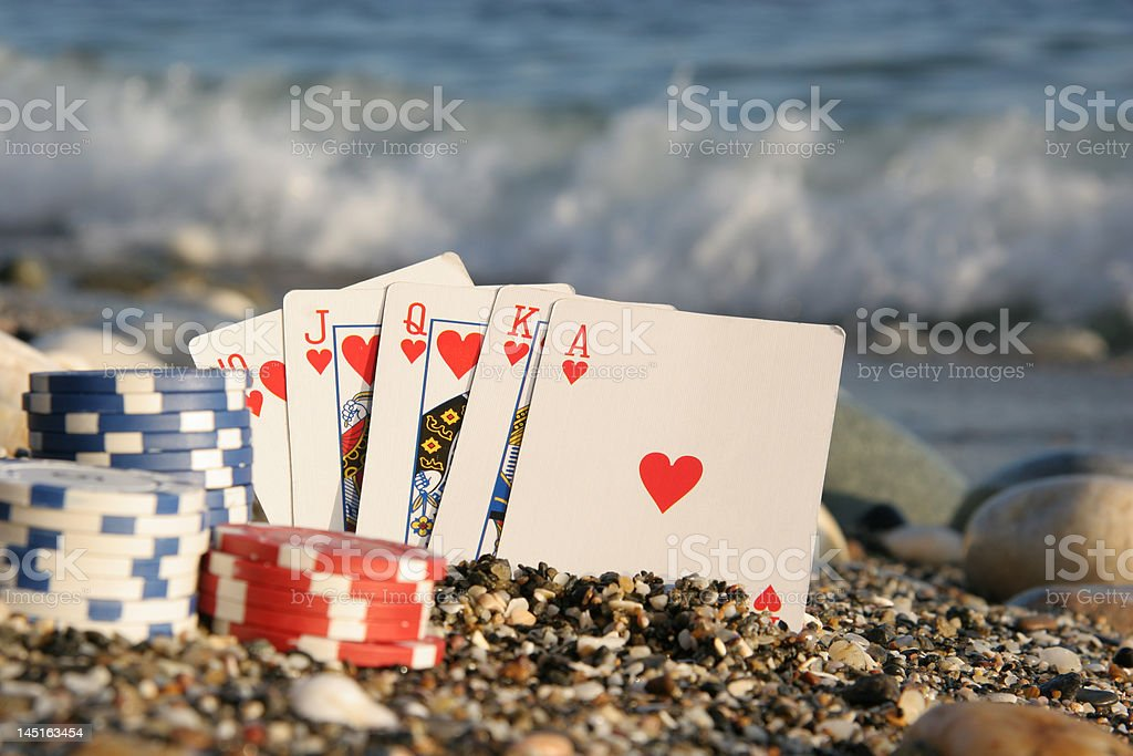 Royal flush by the sea royalty-free stock photo