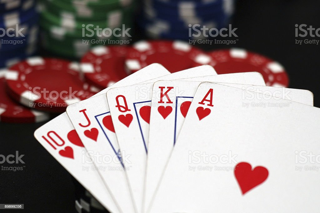 Royal Flush Cards and Coloured Poker Chips royalty-free stock photo