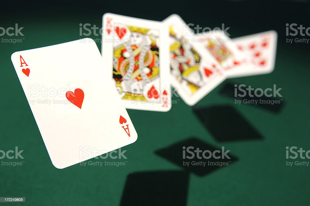 Royal Flush Cards in Mid Air stock photo