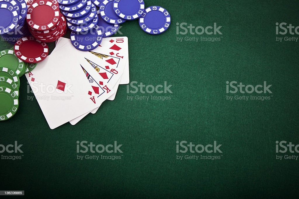 Royal flush & gambling chip stock photo