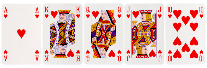 Royal Flush Hearts isolated on white