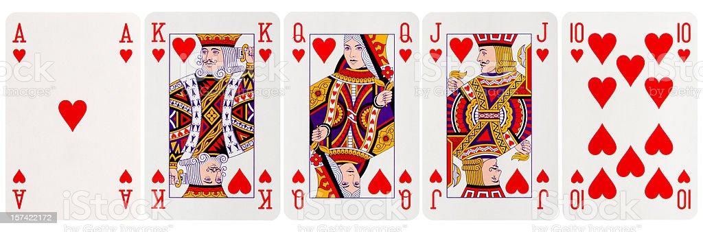 Royal Flush Hearts stock photo