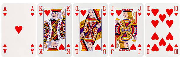 Royal Flush Hearts Royal Flush Hearts isolated on white playing card stock pictures, royalty-free photos & images
