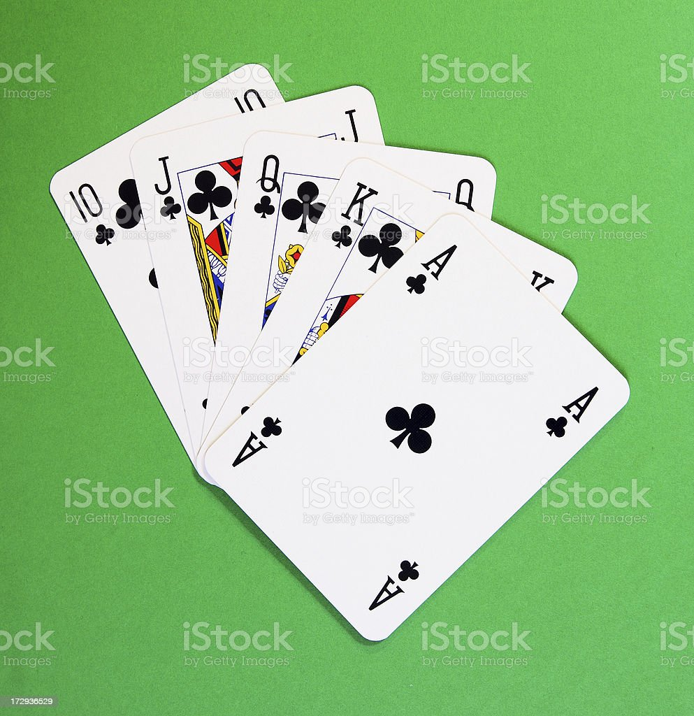 Royal flush of clubs royalty-free stock photo
