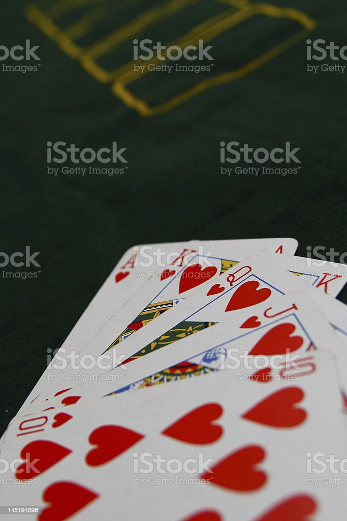 Royal flush of heart suit stock photo