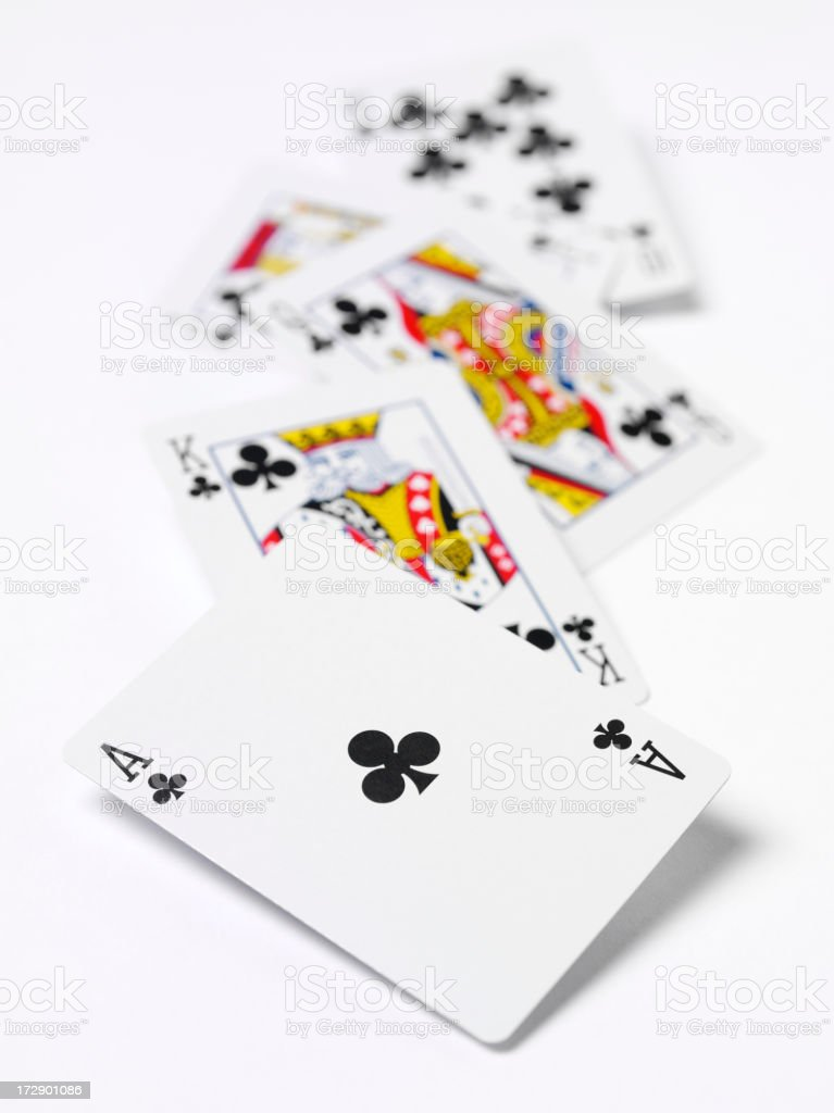 Royal Flush wins in Cards stock photo