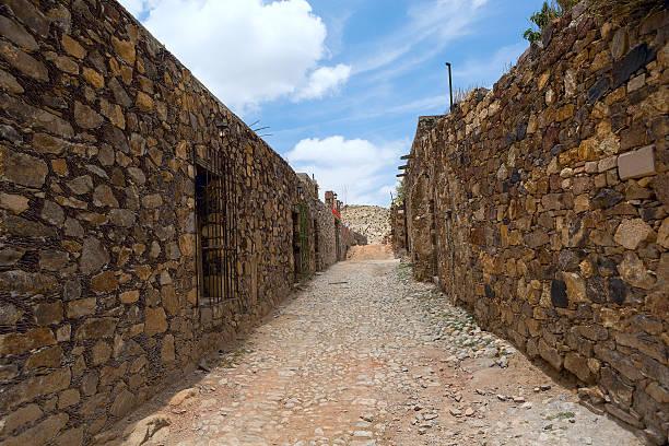 Real de Catorce streetscape streetscape in the abandoned silver mining town Real de Catorce real de catorce stock pictures, royalty-free photos & images