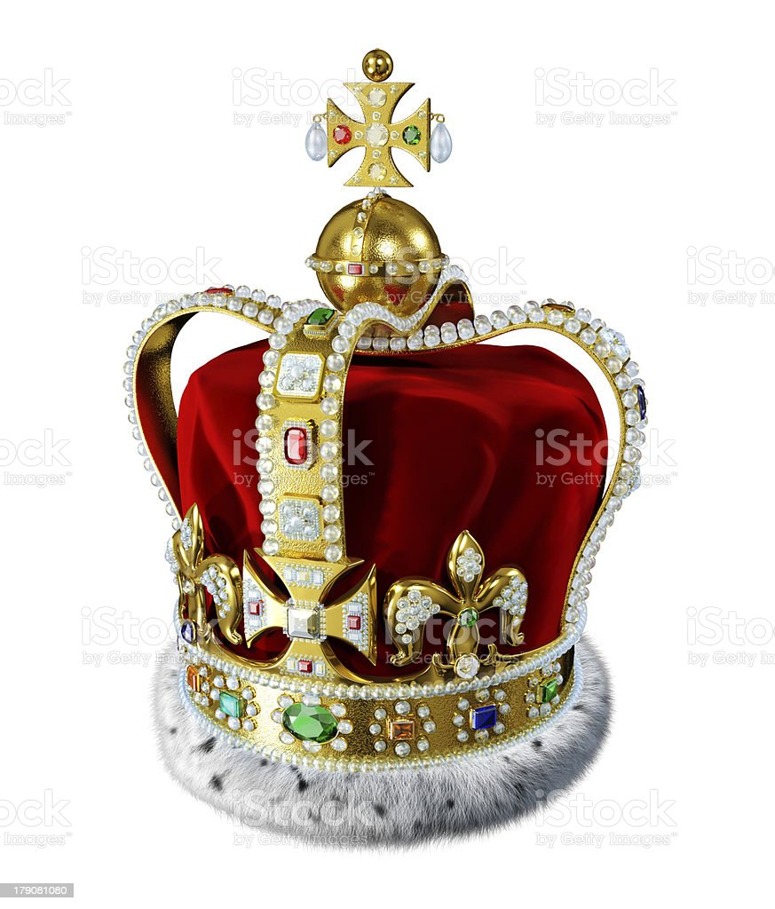 Royal gold crown, with many jewels and decorations, isolated. stock photo