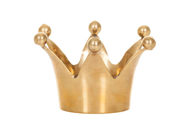 royal golden crown isolated on white background - crown stock photos and pictures