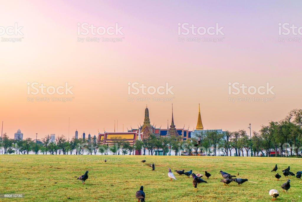 Royal Grand Palace, Emerald Buddha Temple and Sanam Luang stock photo