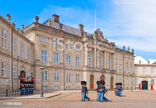 COPENHAGEN, DENMARK - JULY 2, 2014: Royal Guard in Amalienborg Castle in Copenhagen