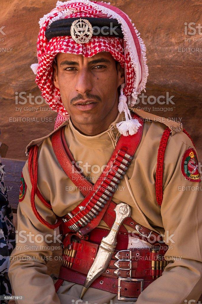 Royal guard in Petra - foto de stock