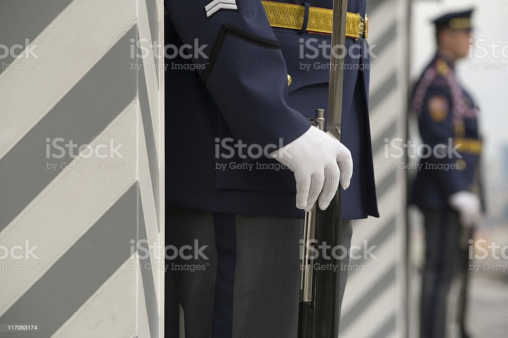royal guards in front of Prague Castle royalty-free stock photo