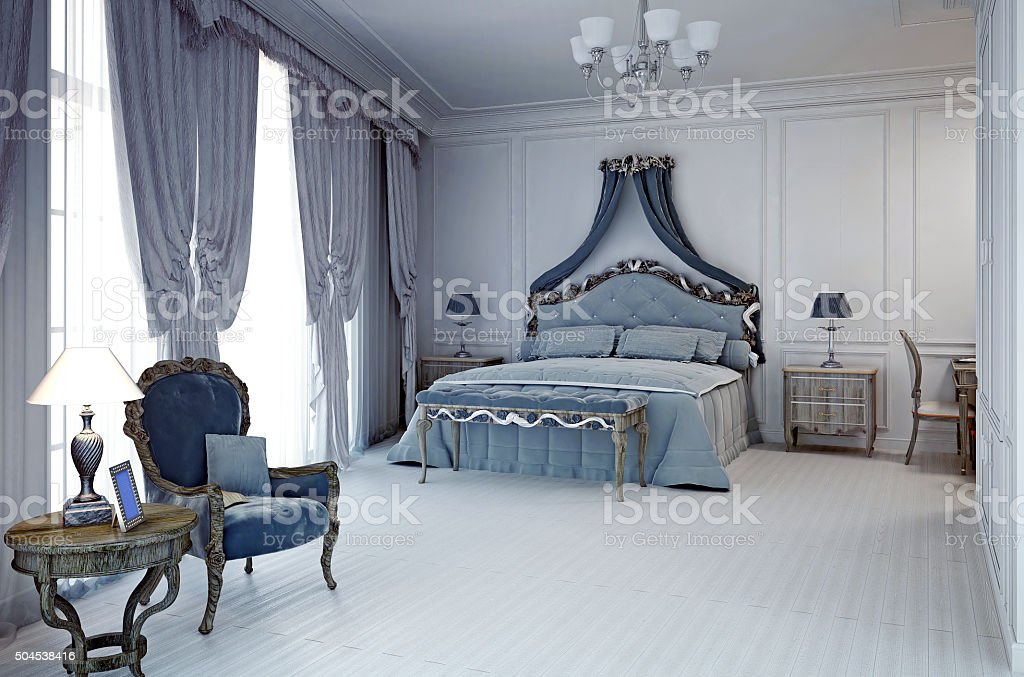 Royal hotel room in classic style stock photo