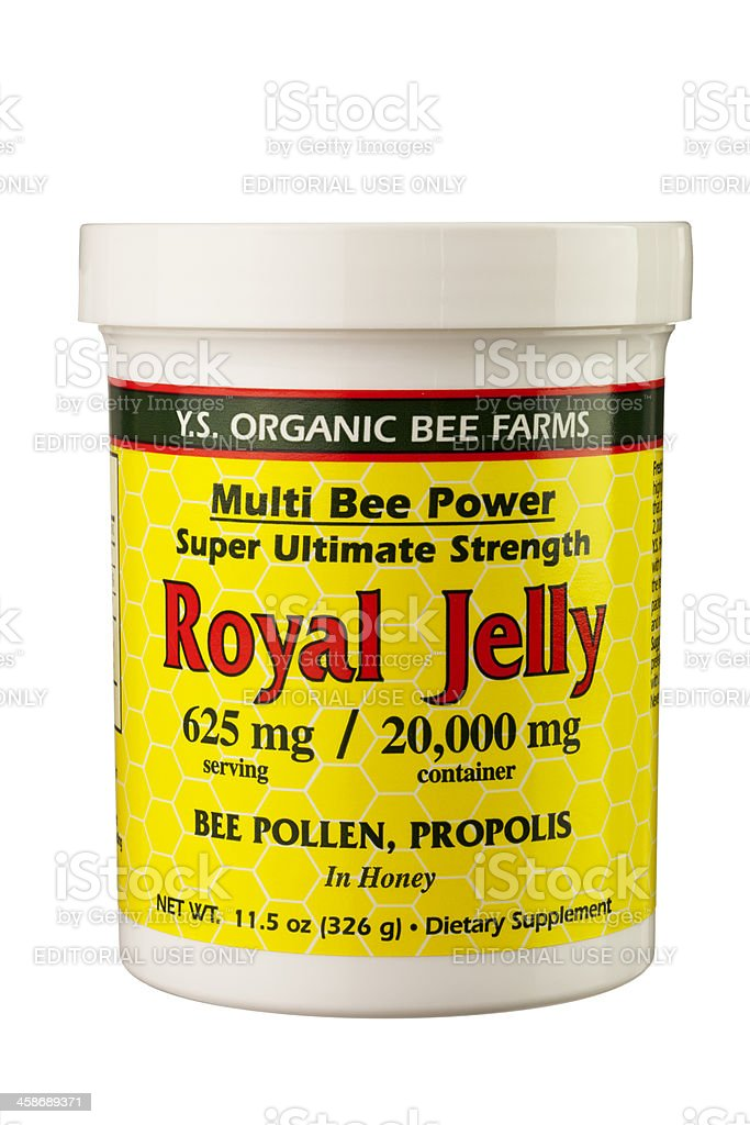 Royal Jelly, Bee Pollen, and Propolis in Honey stock photo