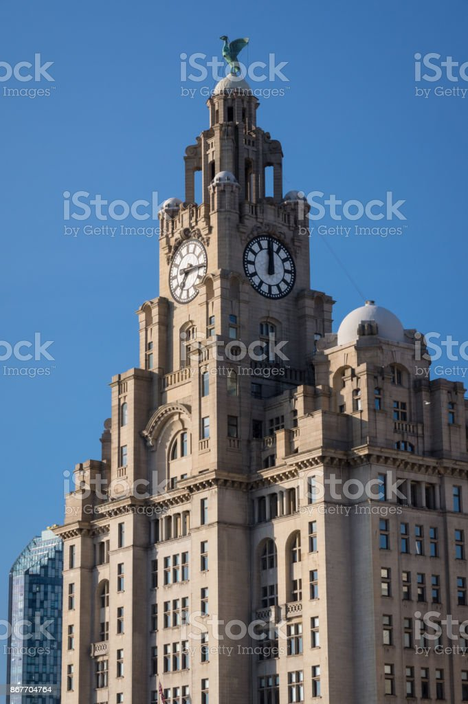 Royal Liver Building on Pier Head in Liverpool stock photo