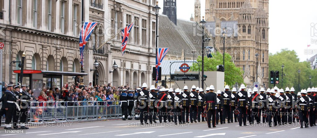 Royal Marines band at The Queen's Diamond Jubilee State procession royalty-free stock photo