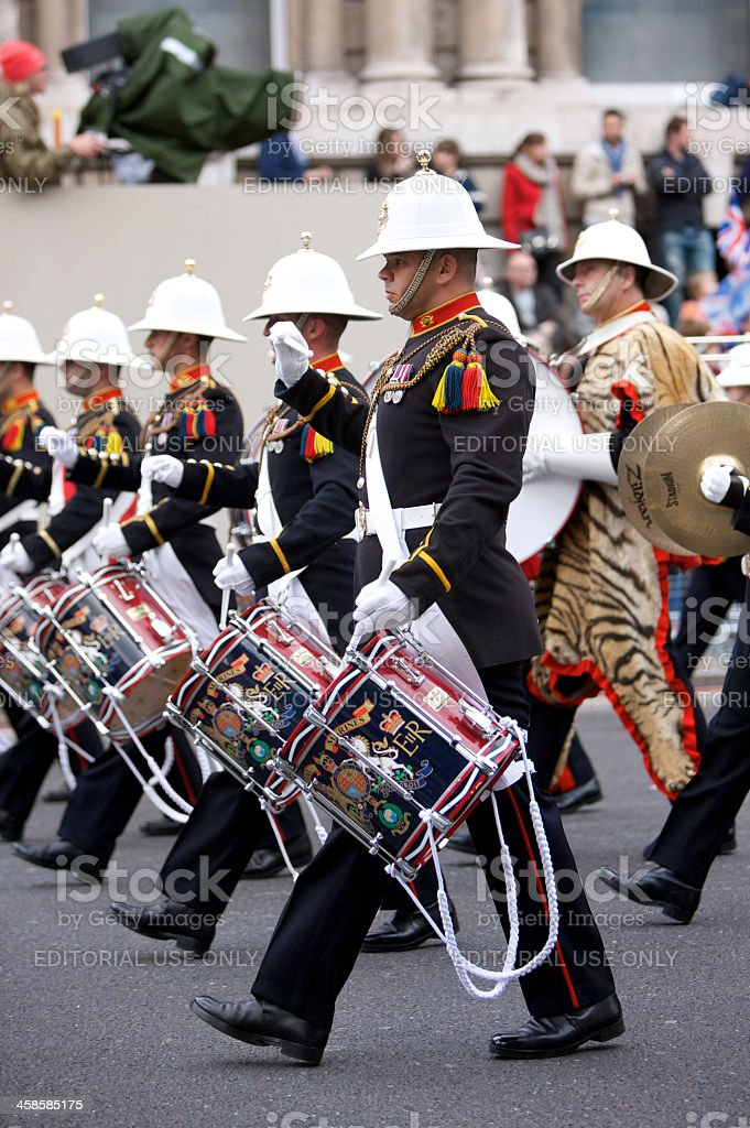 Royal Marines band at The Queen's Diamond Jubilee State procession stock photo