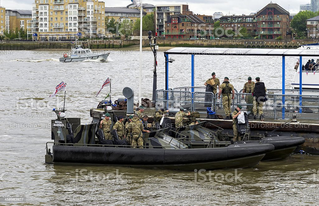 Royal Marines disembarking at Greenwich on Jubilee weekend stock photo