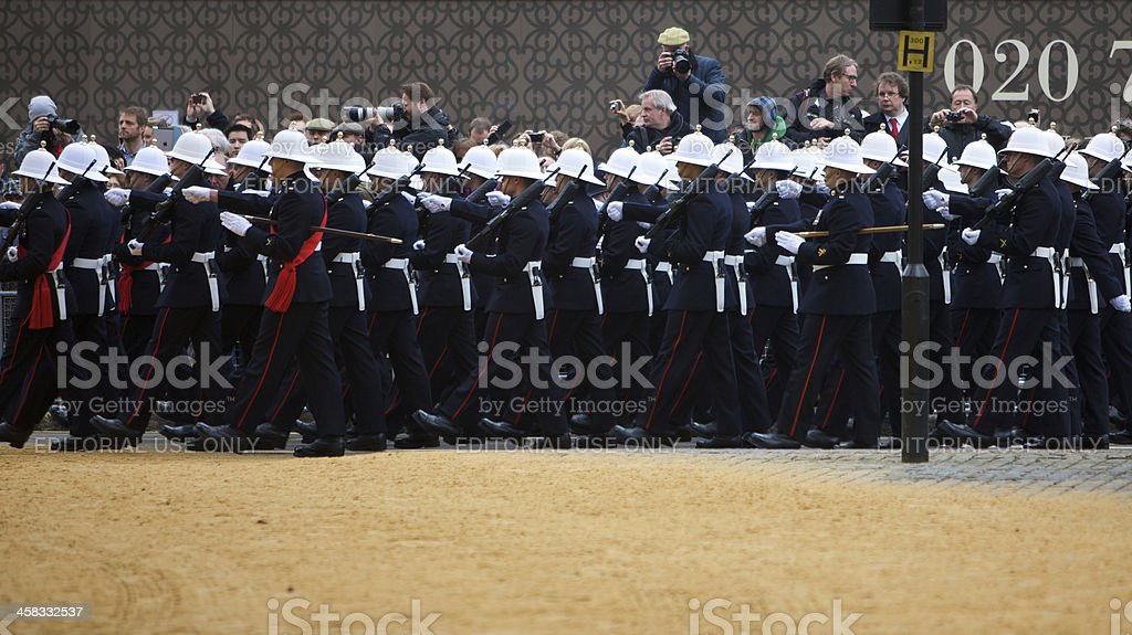 Royal Marines march past photographers at funeral of Baroness Thatcher stock photo