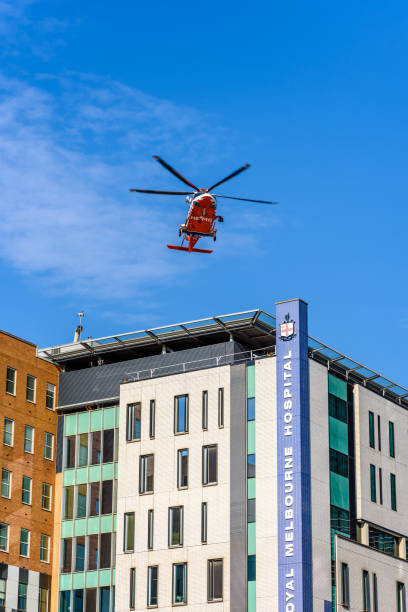 Royal Melbourne Hospital Helicopter stock photo